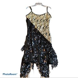 NEW black and gold dress with a fringe - size 2-4